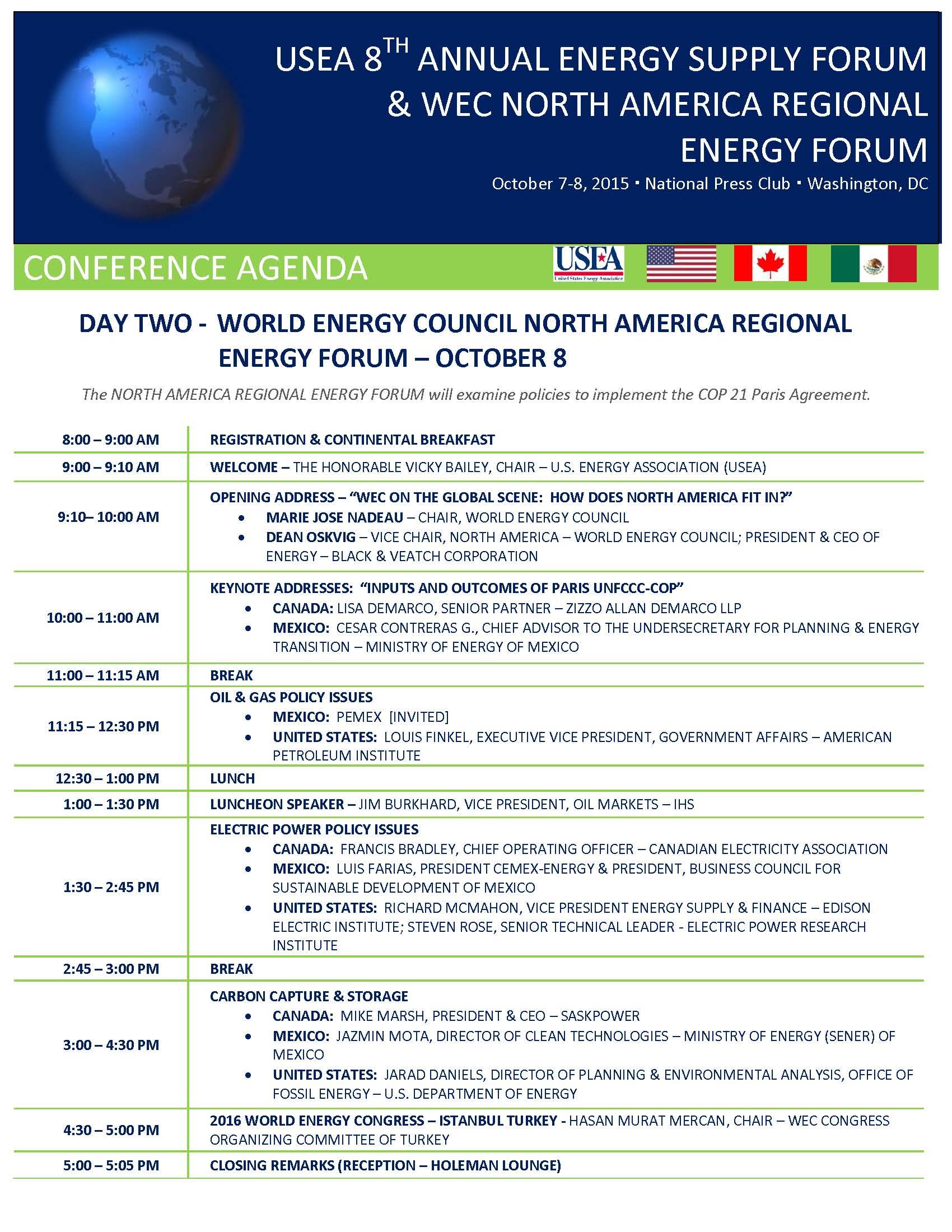USEA 8th Annual Energy Supply Forum WEC North America Regional – Event Agendas