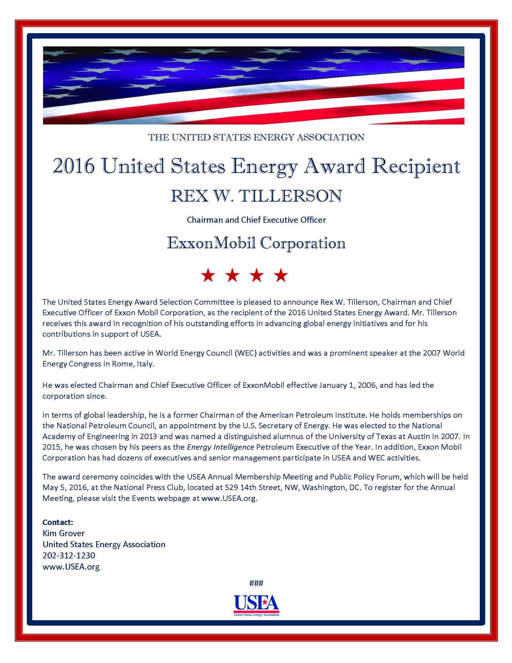 2016 United States Energy Award Recipient - Rex W. Tillerson, ExxonMobil Corporation